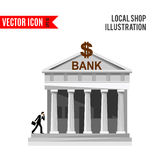 Bank detailed flat design icon. Isolated on white background. Vector illustration for shop with columns. Grey banking building. Local street market. Modern Stock Photo