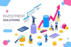 Bank development economics strategy. Commerce solutions for investments, analysis concept. Analysis of sales, statistic stock illustration