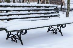 Bank die met sneeuw wordt behandeld stock afbeeldingen