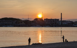 Bank of the Dnieper, Kiev, sunset Stock Photography
