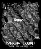 Bank doodle illustration wallpaper background line sketch style set on chalkboard. Bank doodle illustration wallpaper background line sketch style Stock Images