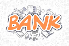 Bank - Doodle Orange Text. Business Concept. Royalty Free Stock Photo