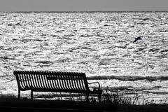 Bank door Oceaan die op iemand wachten Stock Foto's