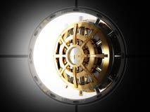Bank door vault 3d. Bank vault door 3d view from safety room Royalty Free Stock Photography