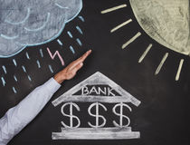 Bank drawing on a blackboard Stock Photos