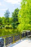 Bank durch den Teich Stockfotografie