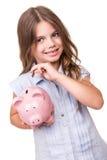 bank dziewczyny świnka gospodarstwa Zdjęcia Royalty Free