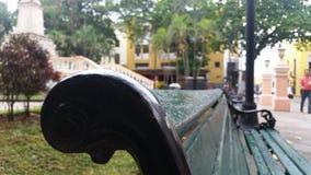 Bank in een park stock fotografie