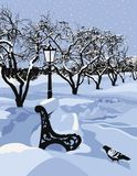 Bank in einem Park und in einem Schneewetter lizenzfreie abbildung