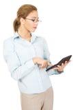 Bank employee with calculator. Royalty Free Stock Photo