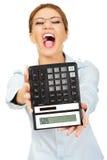 Bank employee with calculator. Stock Photography