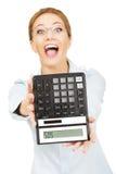 Bank employee with calculator. Stock Photo