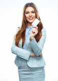 Bank employee hold credit card. Business woman iso Royalty Free Stock Photography