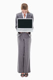 Bank employee presenting her laptop Royalty Free Stock Photography