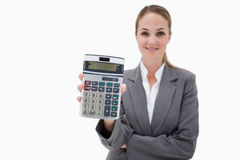 Bank employee showing her pocket calculator Royalty Free Stock Images