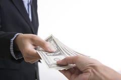 Bank employees hand holding money us dollar USD bills finance Royalty Free Stock Photo