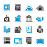 Bank en Financiënpictogrammen Stock Foto's