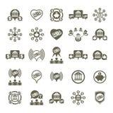 Bank en geld geplaatste thema vector ongebruikelijke pictogrammen, financieel thema Stock Afbeeldingen