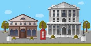 Bank en Winkel op het Vierkant van Londen, het Verenigd Koninkrijk Vector geïsoleerde illustratie Stock Foto's