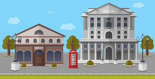 Bank en Winkel op het Vierkant van Londen, het Verenigd Koninkrijk Vector geïsoleerde illustratie Stock Foto