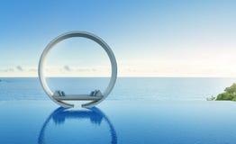 Bank en zwembad in luxe overzees meningshotel Royalty-vrije Stock Fotografie