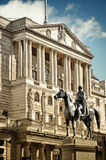 Bank of England. Close-up of Bank Of England`s facade with the statue of Duke of Wellington Statue (created by Francis Chantrey). City of London, England stock photos