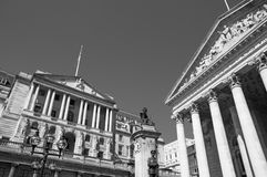 Bank of England. Black and White image of Bank of England and Royal Exchange Royalty Free Stock Image
