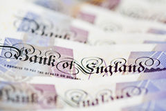 Bank of England Cash. Close-up on Bank of England text on British twenty pound note, shallow depth of field Royalty Free Stock Images