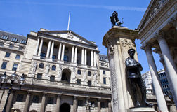 Bank of England, City of London War Memorial and the Royal Excha Royalty Free Stock Photo