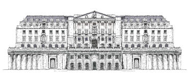 Bank of England London, Sketch Royalty Free Stock Image