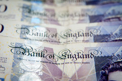 Bank of England money. Bank of England on a lot of pounds Royalty Free Stock Image