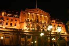 Bank Of England at night. The Bank Of England fondly known as 'The Old Lady Of Threadneadle Street' is where Britains gold reserves are kept and is Royalty Free Stock Photos