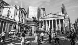Bank of England- och kunglig personutbytesbyggnad - LONDON - STORBRITANNIEN - SEPTEMBER 19, 2016 Arkivfoto