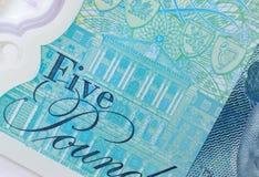 Bank of England på fem pund anmärkning Royaltyfri Fotografi