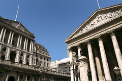 The Bank Of England and the Royal Exchange, London Stock Image