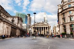 Bank of England, the Royal Exchange in London, the UK. Royalty Free Stock Image