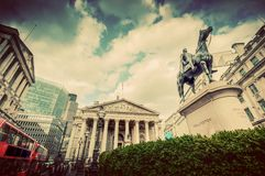 Bank of England, the Royal Exchange in London, the UK. Vintage Stock Images