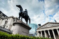 Bank of England, the Royal Exchange in London,, the Wellington statue Royalty Free Stock Photos