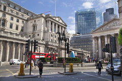 Bank of England. Square and underground station Stock Photos
