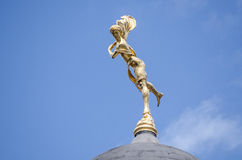 Bank of England statue, Ariel. Gilded statue of Ariel - the spirit of the air - on a dome above the Bank of England in the City of London.  Sculpted by Charles Stock Photos