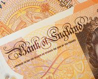 Bank of England Ten Pound Note. Closeup detail of latest  polymer edition United Kingdom ten pound note stock image