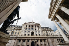 The Bank of England, wide angle view, City of London, UK Royalty Free Stock Images