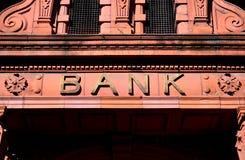 Bank Entrance. Old sign of High Street Bank entrance stock image