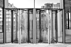 Bank entry in black and white Stock Image