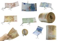 Bank euro Money. Paper money notes with fishing hooks Stock Image