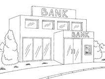 Bank exterior graphic black white sketch illustration vector Royalty Free Stock Photography