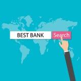 Bank för röd knapp för sökande för webbläsare för internet för trycka på för Businessmans hand bästa, vektor royaltyfri illustrationer