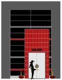 Bank facade. This is a bank facade with a woman next to the door Royalty Free Stock Photography