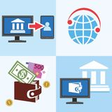 Bank, Finance, account management and a private office, colored, flat. Color flat illustrations, icons - manage your personal Bank account, e-wallet, Bank Royalty Free Stock Photography
