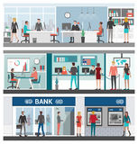 Bank and finance banner set. Business people working in the office, financial advisor, cashiers, atm and bank entrance Stock Image